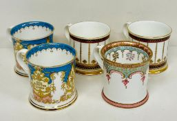 A selection of five royal Collection mugs including two from Buckingham Palace 1996.