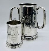 Two commemorative Rowing tankards one two handled glass bottomed from 1910 (18cm h)