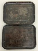 Two small Japanese themed carved wooden trays