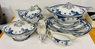 A selection Royal Staffordshire Burslem Pottery Cornflower platters, jugs and tureens