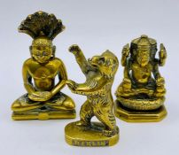 Three brass figures, two Indian gods and a German Berlin Bear
