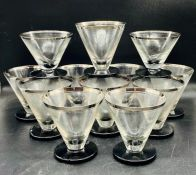 A selection of twelve Art Deco style glasses