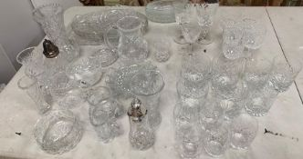 A large selection of cut glass.