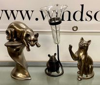 Two china cat figures and one mouse with a vase