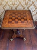 A Galleried chess table (68cm sq. by 70cm h)
