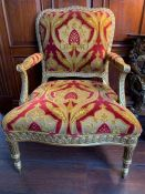A Pair of French style gilt chairs