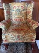 A Floral patterned chair 80 cm wide x 92cm high, seat height 49cm