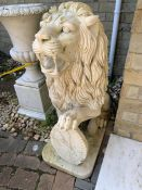 A Pair of distinguished marble lions, said to be from a Maharaja's palace and imported form India (