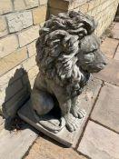 A Pair of decorative garden concrete lions 97cm h
