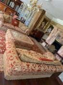 A Living room suite comprising two three seater sofas (230cm w x 110 cm d x 80cm) and a large