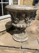 A Pair of garden planters with a grape and vine theme 51 cm diameter by 60 cm high