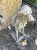 A Pair of concrete ornamental gun dog statues 74cm H