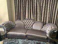 A dark silver contemporary designer sofa (300cm w x 110cm d x 110 cm h seat height 47cm high)