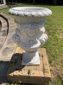 A Pair of marble urns with Rams heads 58cm d x 90cm h
