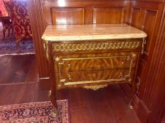 A marble topped Brights of Nettlebed two drawer commode 94 cm w x 52 cm d x 90 cm h