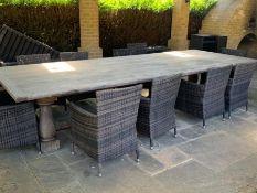 A substantial French oak garden table (400cm x 150cm x 78cm)