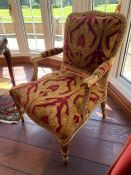 A pair of French style gilt chairs (74cm w x 100cm h x 44cm seat height)