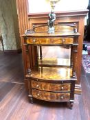 A Galleried cabinet with two drawers and mirrors (99cm h x 62 cm wide x 42cm D)