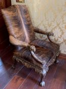 Two faux lion fur chairs with lion feet (76 cm w x 120 cm h x 50 cm seat height)