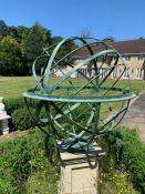 An Armillary sphere on plinth 127 cm diameter x 210cm high