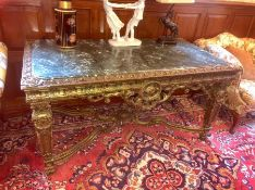 A Marble topped ornate table 160 cm w x 88 cm d x 82 cm h.