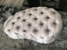 A silver button upholstered footstool 112 cm long x 60 cm x 40 cm high