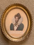 A print of Queen Elizabeth of England in an oval frame (Frame size 19x24cm).