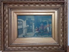 A print depicting fox hunters and a musician, framed and glazed, (14x22 cm).