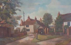 Bernard Robinson (1912-1970) English, 'Men talking in a crossroad', unsigned, oil on board,
