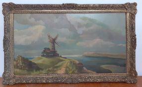 Bernard Robinson (1912-1970) English, 'A windmill on the coast', unsigned, oil on board, framed, (