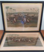 A pair of hand coloured aquatint prints of Leamington Grand Steeple Chase 1837, (47x67 cm). (2)