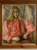 Margaret J. Robinson (1920–2016) English, 'Youngter in pink shirt', signed, oil on board, framed (