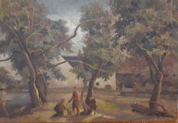 Bernard Robinson (1912-1970) English, 'The treasure', unsigned, oil on board, unframed, (27.5x40.5