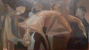 Bernard Robinson (1912-1970) English, 'The penitent', unsigned, oil on board, unframed, (25x43 cm).