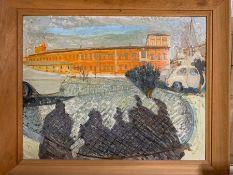 A 20th century English school, 'Street scene', signed: ¨Margaret Best¨, mixed media, framed, (68cm x