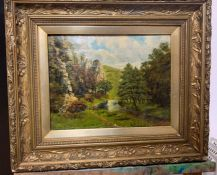 """A 20th century English school, 'Valley scene', signed: """"C.Brown"""" and dated 1907, oil on canvas, ("""