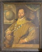 Portrait of Francis Drake, following an engraving published by Joducus Hondius in 1577, oil on
