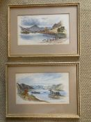A pair of watercolours 'Mountain scenes', signed with monogram 'J.M.' and dated 1879, framed and
