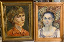 Margaret J. Robinson (1920–2016) English, a pair of femenine portraits, signed, oil on canvas,