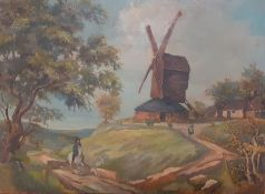 Bernard Robinson (1912-1970) English, 'Windmill with horse rider and a white dog', signed with