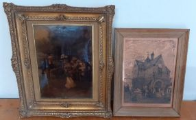A print underglass and a brass plate (39x33 cm largest with frame). (2)
