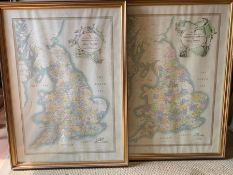 A pair of maps after the 'Hampton Hunt series (...) of Great Britain', framed and glazed.