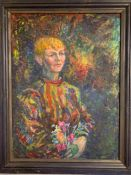 Margaret J. Robinson (1920–2016) English, 'Portrait', sign and dated (1984?), oil on board,