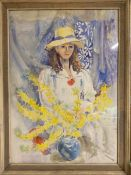 Margaret J. Robinson (1920–2016) English, 'Girl with yellow hat', signed, framed and glazed,