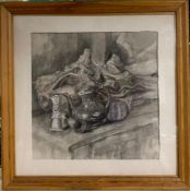 """Margaret J. Robinson (1920–2016) English, """"Still life"""", signed and dated, mixed media, framed ("""