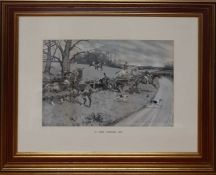 """A print after Gilbert Scott Wright (1880-1958), """"A fine hunting day"""", framed and glazed (36x55 cm)."""