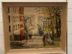 A painting signed: 'Lujo' (Lujo Bezeredi ?), 'Montmatre street', within a frame (58cm x 48cm).