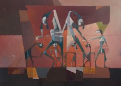 Bernard Robinson (1912-1970) English, 'Group of monsters', unsigned, oil on board, unframed, (