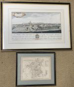 Two prints of maps, including one of Nottingham, framed and glazed, (42cm x 24cm). (2)