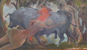 Bernard Robinson (1912-1970) English, 'Mythological scene', unsigned, oil on board, unframed, (30x50